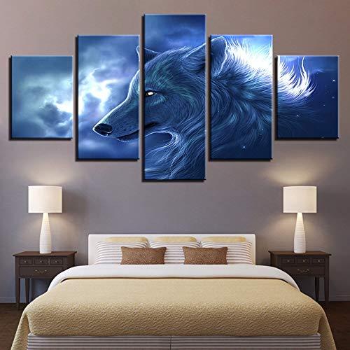 xzfddn HD Drucke Bilder Modulare Wandkunst Leinwand Poster 5 Stücke Tier Wolf Abstrakte Gemälde Wohnkultur Für Wohnzimmer
