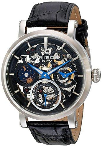 Akribos XXIV Hommes de Montre mécanique avec Affichage analogique et Bracelet en Cuir Noir Cadran Noir ak745ssb