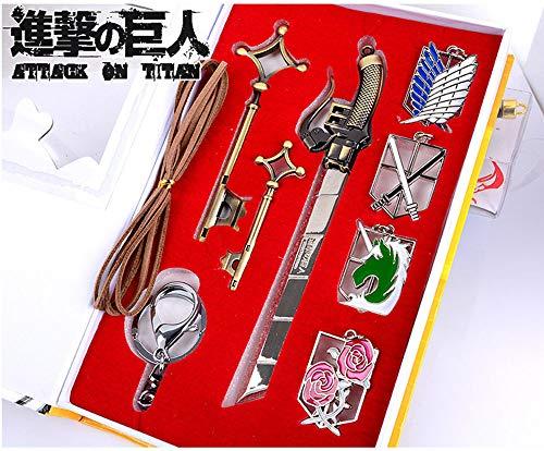 Jacke Key (Memory meteor Attack on Titan Sword Cosplay Shingeki No Kyojin Eren Jaeger Key Pendant Necklace Katana Badge Set)