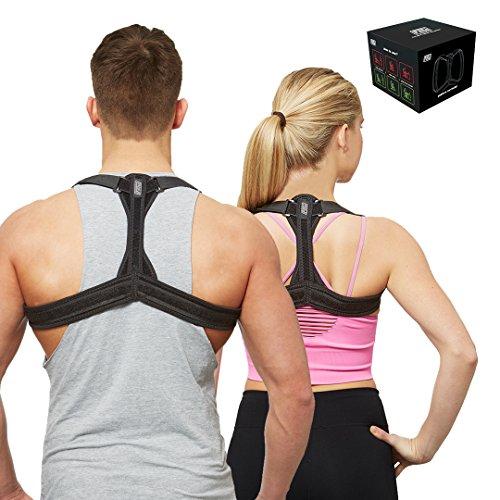 Corrector de postura para mujeres y hombres   Apoyo postural para espalda, cuello y hombros–Corrector de postura perfecto para terapia del dolor físico / alivio de tensión (tamaño mediano)
