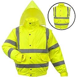 vidaXL Cazadora de alta visibilidad caballero amarilla fluorescente talla M poliéster