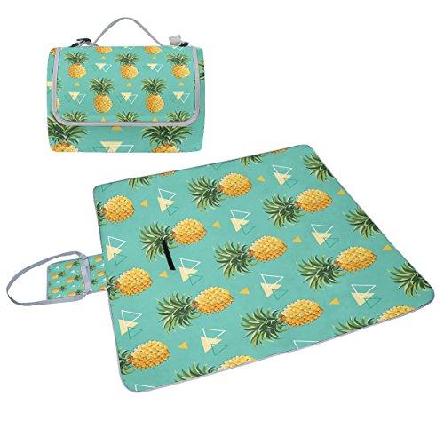 COOSUN Dreieck geometrische Ananas Muster Box Picknick-Decke mit Matte Schimmel resistent und wasserdicht Camping-Matte für rving, Picknickdecke, Strand, Wandern, Reisen und Ausflüge