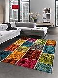 Designer Teppich Patchwork Vintage Wohnzimmerteppich multicolor bunt Größe 120x170 cm