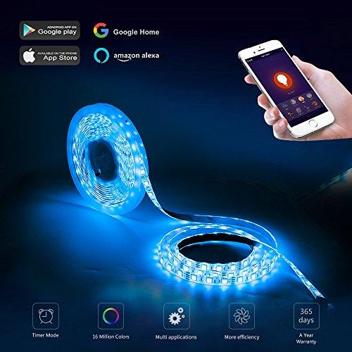 COOSA LED Stripes kompatibel mit Alexa und Google Home,wifi Steuerung für ISO und Android 5m bunte 5050 RGB led Streifen Beleuchtung, dimmbar flexible Farbe wechselnden Lichterkette und silikon wasserdichte Lichtstreifen für Werbung Dekoration, Light Box Hintergrundbeleuchtung, KTV Dekoration, Aquarium und so weiter (6Farbe 5M)