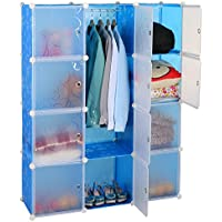 Kurtzy Wardrobe Cupboard closet Cabinet 12 Door Storage Organizer Rack Shelf for Clothes living room Bedroom with instruction CD