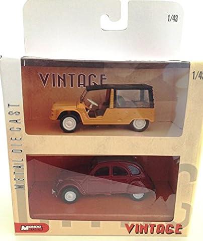 CITROEN MEHARI ORANGE + CITROEN 2CV BORDEAUX : coffret de 2 voitures échelle 1:43