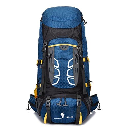 Un nuovo giorno Zaino outdoor alpinismo borsa viaggio 60L impermeabile nylon Zaini per uomini e donne nuove , orange Blue