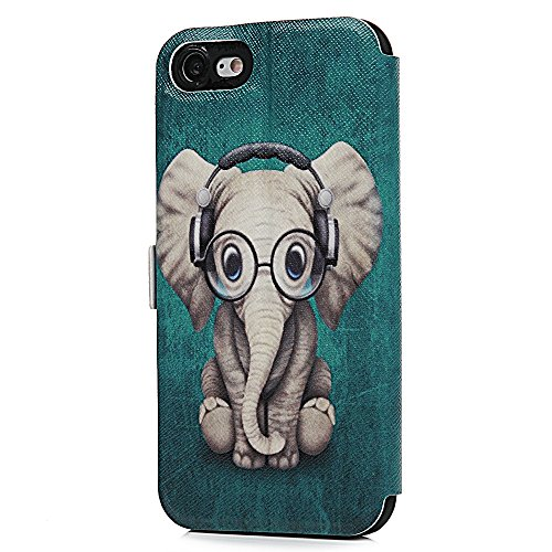 Lanveni iPhone 7 Hülle, Handyhülle für Flip Case Cover PU Lederhülle Schutzhülle Magnetverschluss Ledertasche mit Stander Function Brieftasche Card Slot Handy Tasche mit Bunte Gemalt Design für iPhone Elefanten