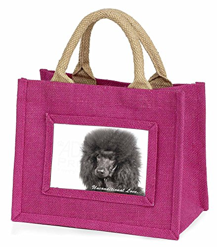 Schwarzer Pudel - With Love Kleine Mädchen rosa Einkaufstasche (Mini Schwarz Pudel)