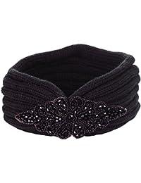 Bandeau bijoux maille noir - Bandeau Tricot - Bandeau Hiver - Cache Oreilles - Bandeau Laine