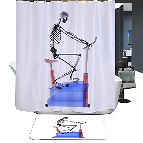 Harson&Jane Schädel-Fahrrad-Digital Printing-wasserdichten Duschvorhang Größe 180*180 180*200 (180*180)