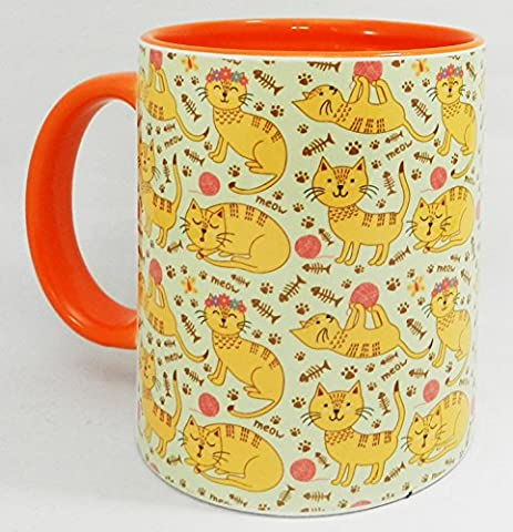 The Cute Ginger Cat Mug with orange inner and handle by Half a Donkey
