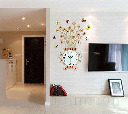 EDSH horloge murale Horloge murale créative et créative de style européen (Couleur : Or, taille : 76cm)