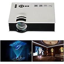 Tongshi 1080P HD 1200lumens LED Mini Inicio proyector multimedia HDMI USB Vídeo [Clase de eficiencia energética A+++](Blanco)