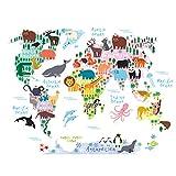 HUABEI Wandaufkleber Karte Kinderzimmer Kinderzimmer Atlas Landkarte Globus Welt Selbstklebend Aufkleber Wandaufkleber Wandsticker