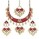 #8: I Jewels Gold Plated Kundan Meenakari Necklace Jewellery Set For Women (M4084QG)