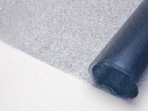 Transparente Folie mit Glitzer Effekt Blau, Glitter Metallic Tischdecke transparent, eckig Größe wählbar (220 x 140 cm)