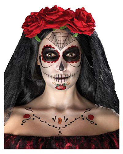 Horror-Shop 16-teiliges Day of The Dead Sugar Skull Make Up Kit für Halloween & Tag der Toten