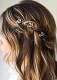 Kercisbeauty - Horquillas para el pelo, diseño de flores para novia, hechas a mano, color dorado y plateado, para boda y fiesta, rizadas y largas