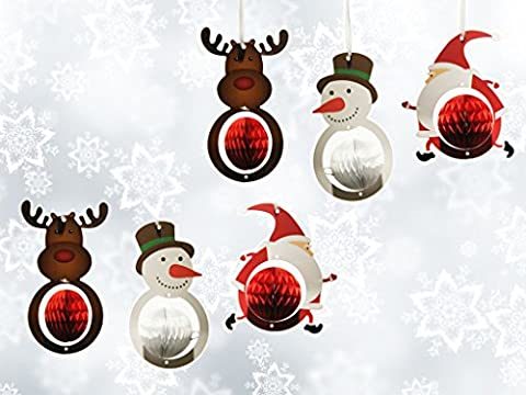SUNBEAUTY 6er Set Weihnachtsmann Schneemann Elch Wabenbälle Papier Dekoration für Weihnachtsfest (6 Stück)