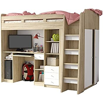 cb021a584931 Functional Single High Sleeper Bed with Storage - With Built-in Desk Unit,  Wardrobe