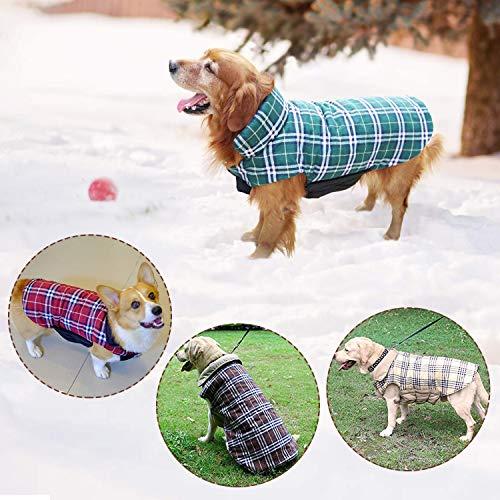 Haustier Hund Plaid Jacke Hoodie Mantel Pullover Schneefest Kleidung Herbst Winter Kleidung Warm Gepolsterte Wendeauflage Apparel Weste Kleidung Hunde mantel Brustschutz für Hunde (L,Braun) - 7
