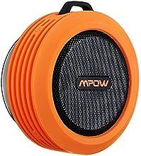 Mpow Buckler Altavoz Bluetooth Ducha Impermeable con Microfono, Altavoz Portatil con Ventosa para Ducha y Exterior, Altavoces Inalambricos con 5W de Potencia Aporta Manos Libres,8 Horas Larga Duraci?®n de Bater?ªa - Naranja