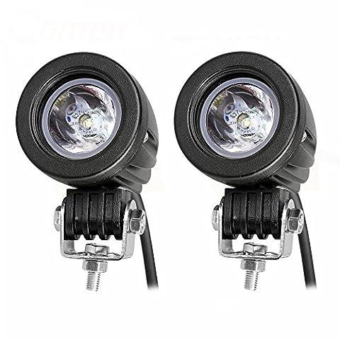 10W Car Cree LED Lampes de travail Lumières de conduite ronde Lampe d'inondation Phares antibrouillards Spotlights Offroad allume 12V pour Auto Moto Bateau VTT Camion Jeep wrangler SUV (Pack de