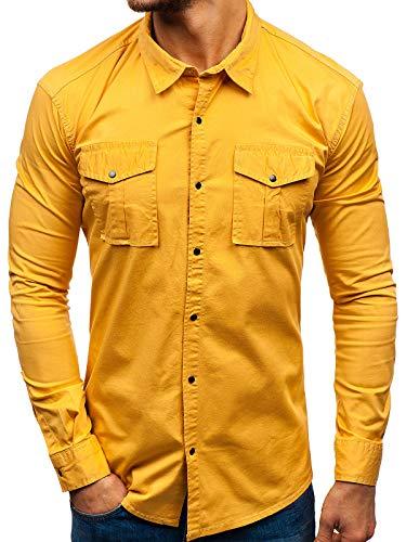 BOLF Herren Hemd Langarm Brusttaschen Slim Fit Freizeit Casual Style Otantik 2058-1 Senfgelb M [2B2]