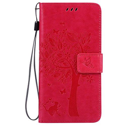 LG G5 Hülle Rose Red im Retro Wallet Design,Cozy Hut LG G5 Hülle Leadertasche Premium Lederhülle Flip Case im Bookstyle Folio Cover Kartenfächer Magnetverschluss und Standfunktion Leder Schale Etui für LG G5 / H868 (5,3 Zoll) Handytasche Schutzhülle Katzen und Bäume Muster - Rose Red