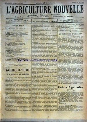 AGRICULTURE NOUVELLE (L') [No 161] du 19/05/1894 - AGRICULTURE PAR CARRE - TROUDE - BLANCHARD - DUBOIS - VESQUE - VITICULTURE PAR LATIERE - HORTICULTURE PAR COUTURIER - MAGNIEN - DE DUBOR - LATIERE - APICULTURE PAR HOMMEL - LEGISLATION RURAL PAR WELL - ELEVAGE PAR FONTAINE - ALIMENTATION PAR ROCHER