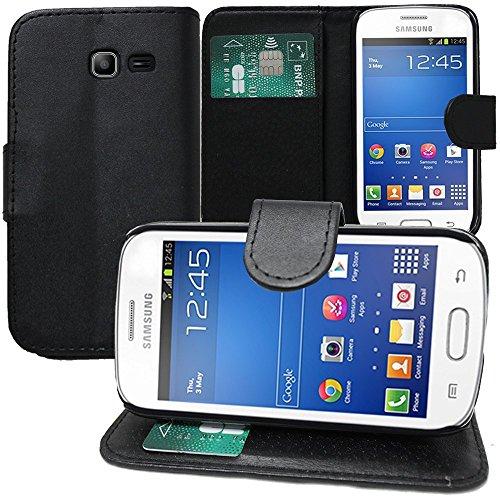 HQ-CLOUD Etui Housse Portefeuille Cuir Pour Samsung Galaxy Trend GT-S7560 / Galaxy S Duos S7562 - Noir - Un Film Offert