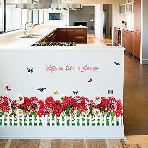 Winhappyhome Romantic Red Daisy Battiscopa Adesivi Murali Battiscopa per Camera Da Letto Camera Dei Bambini Sfondo Rimovibile Decor Art Stickers
