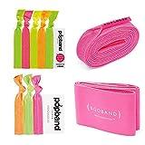 Booband bande de soutien mammaire réglable x Popband élastiques à cheveux et bandeaux pour cheveu x Poplaces ensemble, Neon
