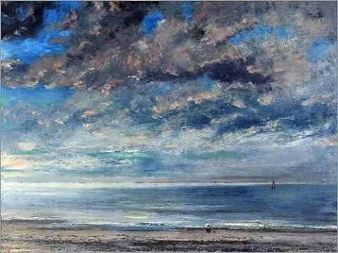 Leinwandbild 120 x 90 cm: Strand bei Sonnenuntergang von Gustave Courbet / akg-images - fertiges Wandbild, Bild auf Keilrahmen, Fertigbild auf echter Leinwand, Leinwanddruck