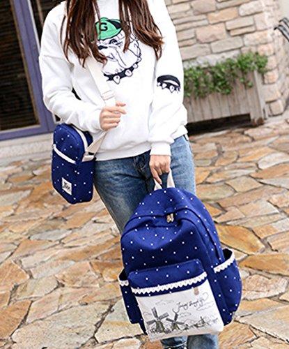 Sentao Damen Vintage Canvas Rucksack Freizeit Schultasche für Outdoor Camping Sports Dunkel Blau