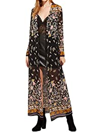 Cardigan Longue Kimono Floral Imprimé Manteau Longue Automne Casual Trench  Femme Longra Chic Mode Rétro Élégant c60a61c92c8c