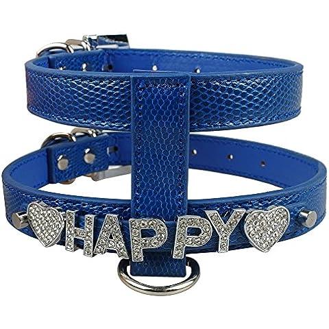 Rosba (TM) cuoio dell'unit¨¤ di elaborazione Snakeskin del cablaggio del cane & guinzaglio Set Nome Free strass lettere cablaggio fai da te Bling strass Collare