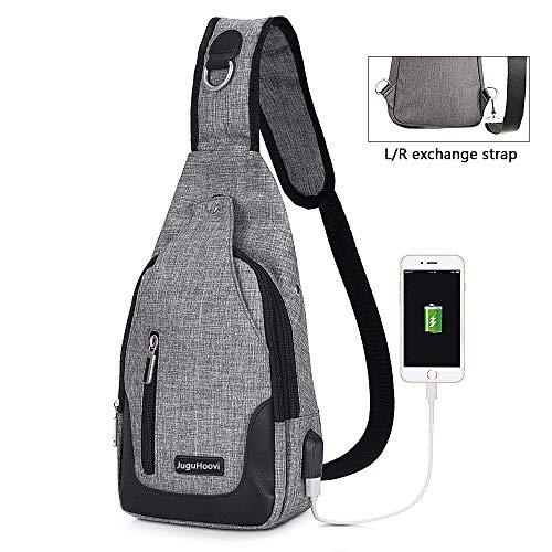 Brusttasche Sling Rucksack Umhängetasche,JuguHoovi Schulter-Umhängetasche Rucksack mit USB Lade-Port Anti-Diebstahl für Herren/Damen, Unisex, Schulter-Umhängetasche, Rucksack für Reisen/Wandern/Campin
