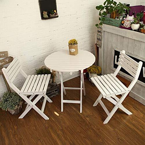 Tische und Stuhl Set Hölzern Hartholz Bistro Traditionell Klapptische 2 Stühle Garten Terrassenmöbel CJC (Farbe : Weiß) - 2 Schubladen Holz-finish Tisch