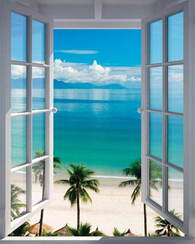 (Poster Fenster zum Südsee Strand mit Palmen - Größe 40 x 50 cm - Miniposter)