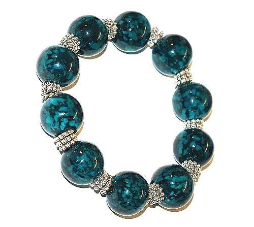 *HUGE BEADS SALE!* JSB Chunky Round Snowflake Glass Bracelet KIT Collection (TEAL) ~ Ref:4B13 ~ NO SPECIAL TOOLS REQUIRED