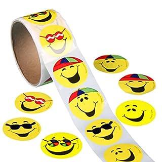 VORCOOL Gelber Smiley-Gesichts-glückliche Aufkleber 3,8cm Kreis-Lehrer beschriftet 100 Gesamt
