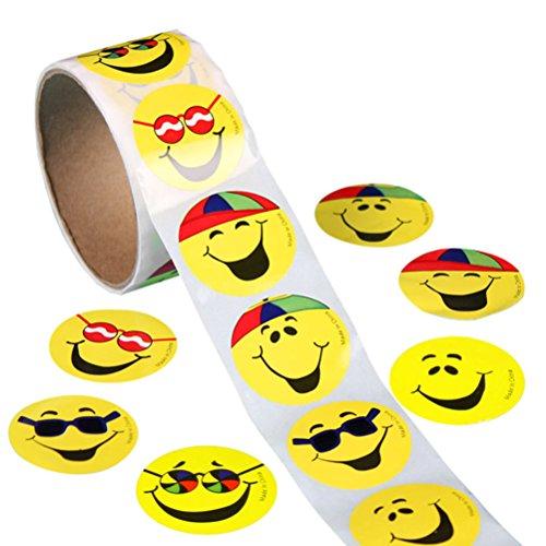 Gesicht Wiege (ROSENICE 100 Stück Gelbe Smiley Face Stickers Kinder Belohnung Aufkleber Runde Aufkleber)