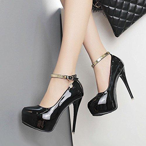 KHSKX-Super Chaussures À Talon 12Cm Mot Boucle Unique Tête Ronde Des Femmes Table Des Imperméables Bien Talon De Chaussures black