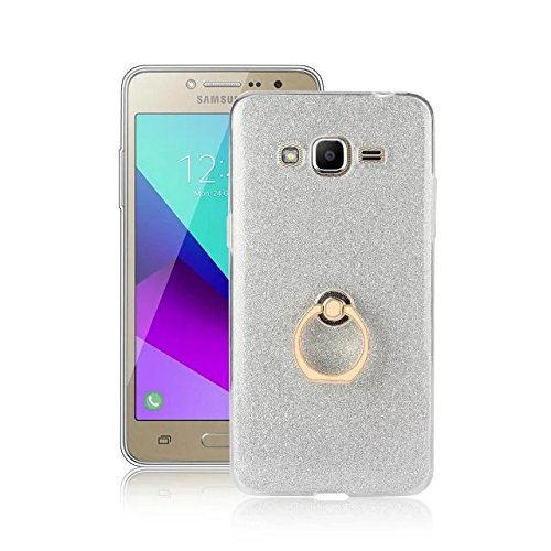 Luxus Bling Sparkle Style Case, Soft TPU [Silikon] Flexible Glitter Rückseitige Abdeckung mit Fingerring Stand für Samsung Galaxy J2 Prime ( Color : Pink ) White