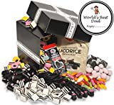 Worlds Best Dad - Retro Liquorice Hamper (Classic Black Hamper With World's Best Dad Branding & Gift Label) by Treasure Island Sweets