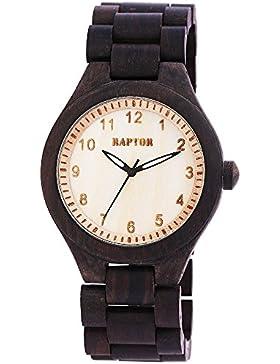 Raptor Herren Armbanduhr Holzuhr Holzarmband Quarz Braun 10000070017-025-025-025, Farbe1