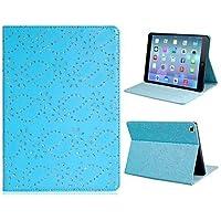 Paillettes stampa floreale Faux Leather caso di vibrazione del corpo completo con supporto per iPad Air (colori assortiti) , blue