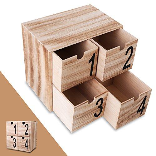Organizzatore scrivania, cassetto kealive 4 mini scrivania in legno contenitore di gioielli decorativi per la casa, ufficio, 30.0 x 19.5 x 30,0 cm cassette di legno